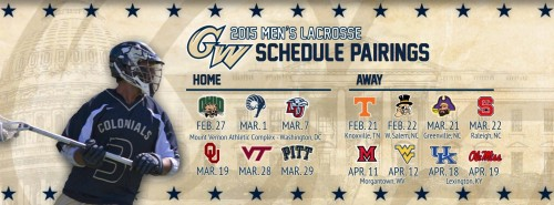George Washington Releases Men's Lacrosse Schedule for the 2015 Season